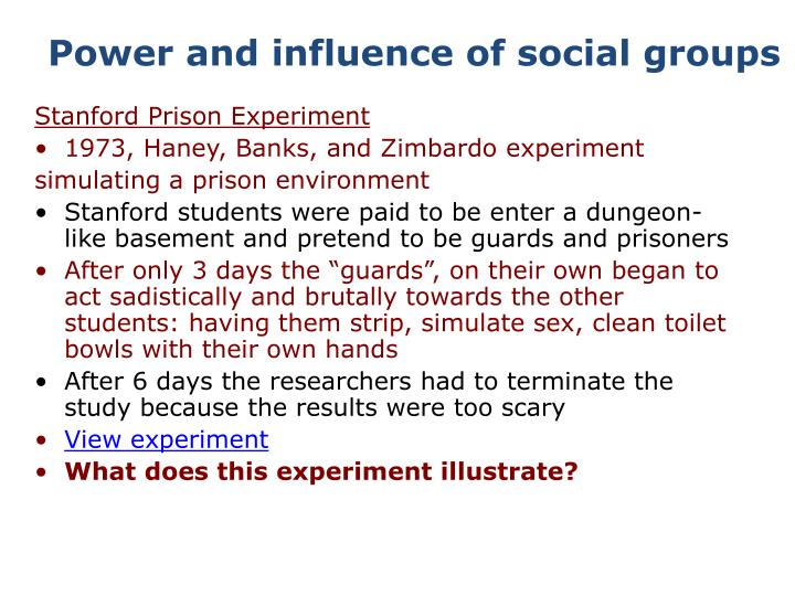 Power and influence of social groups