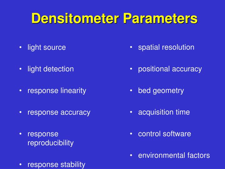 Densitometer Parameters