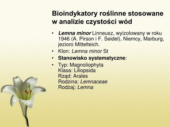 Bioindykatory roślinne stosowane w analizie czystości wód