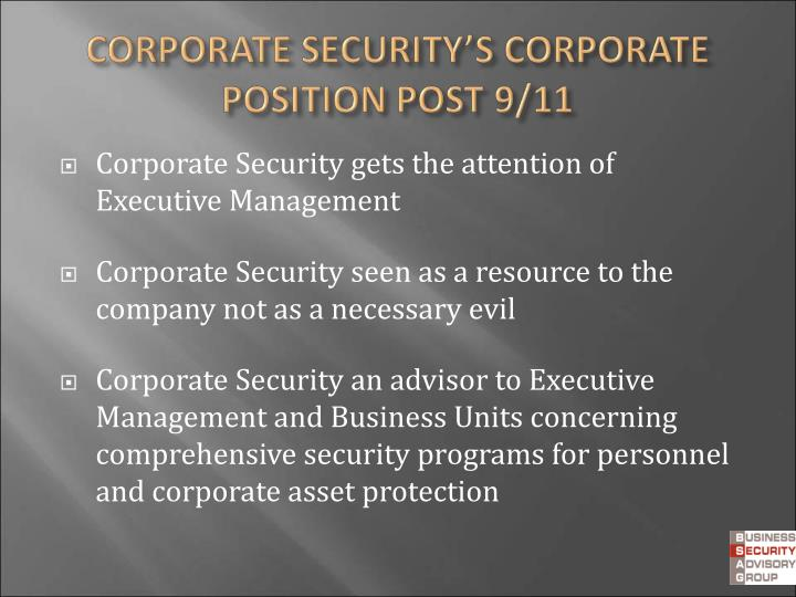 Corporate Security gets the attention of  Executive Management