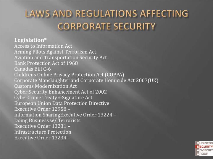 Legislation*