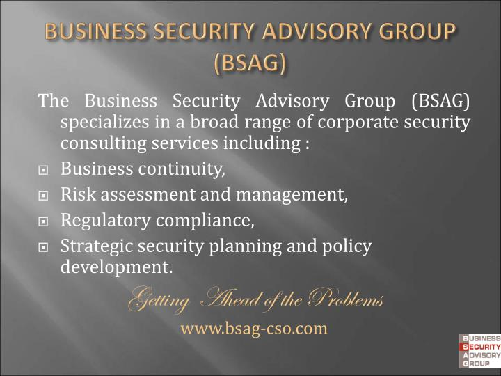 The Business Security Advisory Group (BSAG) specializes in a broad range of corporate security consulting services including :