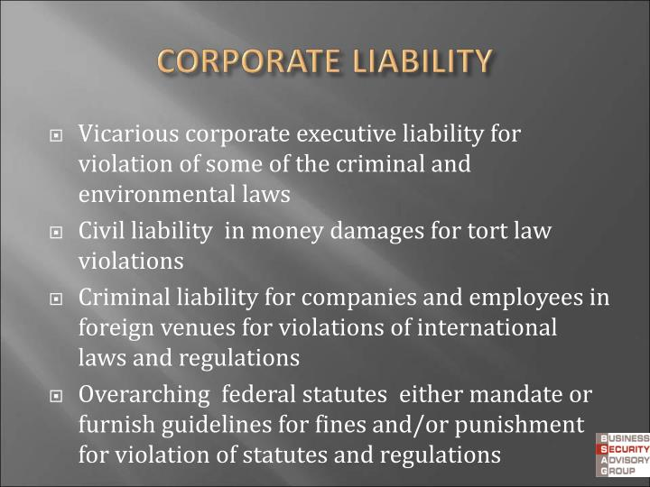 Vicarious corporate executive liability for violation of some of the criminal and  environmental laws