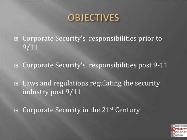 Corporate Security's  responsibilities prior to 9/11