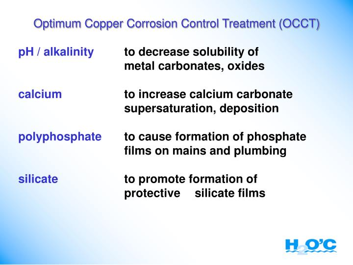 Optimum Copper Corrosion Control Treatment (OCCT)