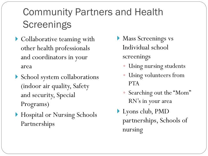 Community Partners and Health Screenings