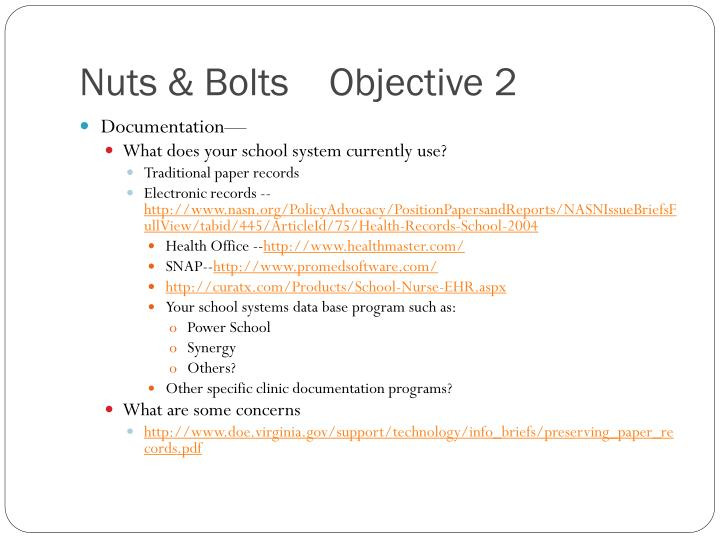 Nuts & Bolts    Objective 2
