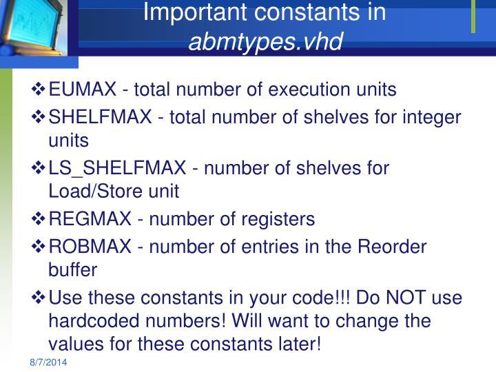 Important constants in