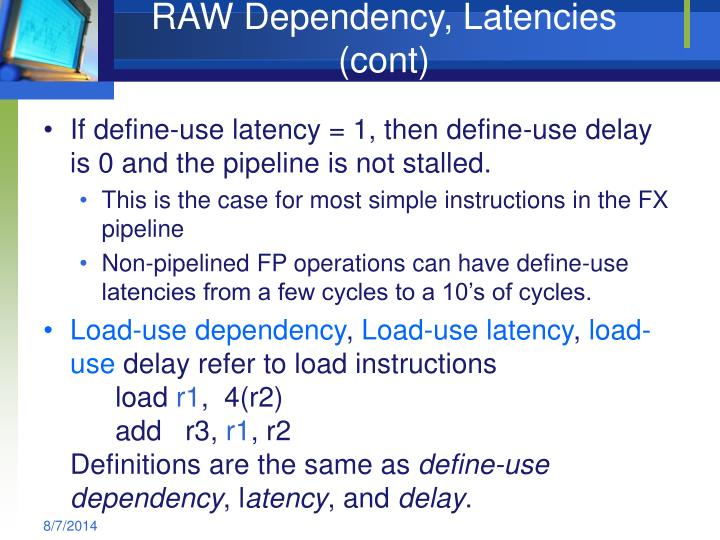 RAW Dependency, Latencies (cont)
