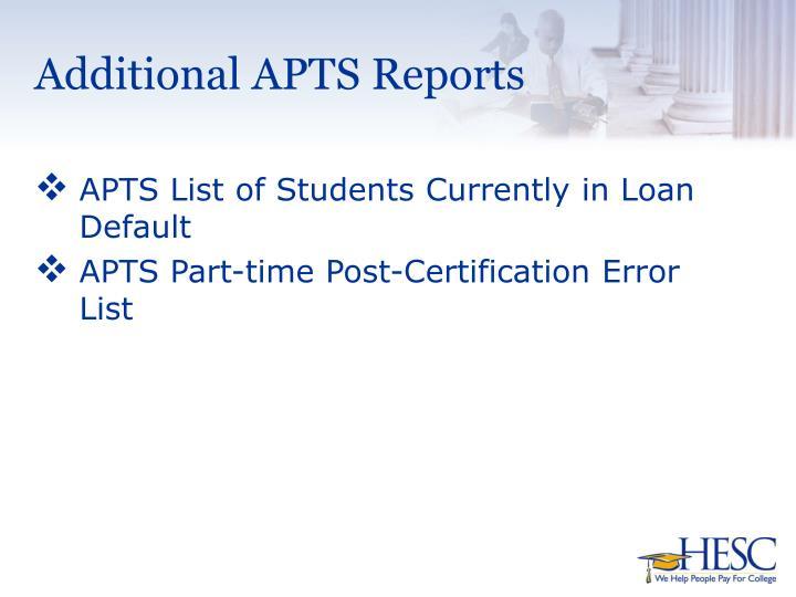 Additional APTS Reports