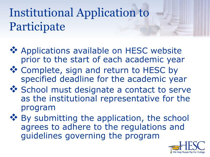 Institutional application to participate