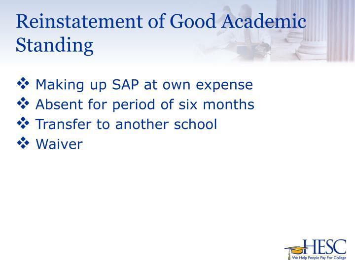 Reinstatement of Good Academic Standing