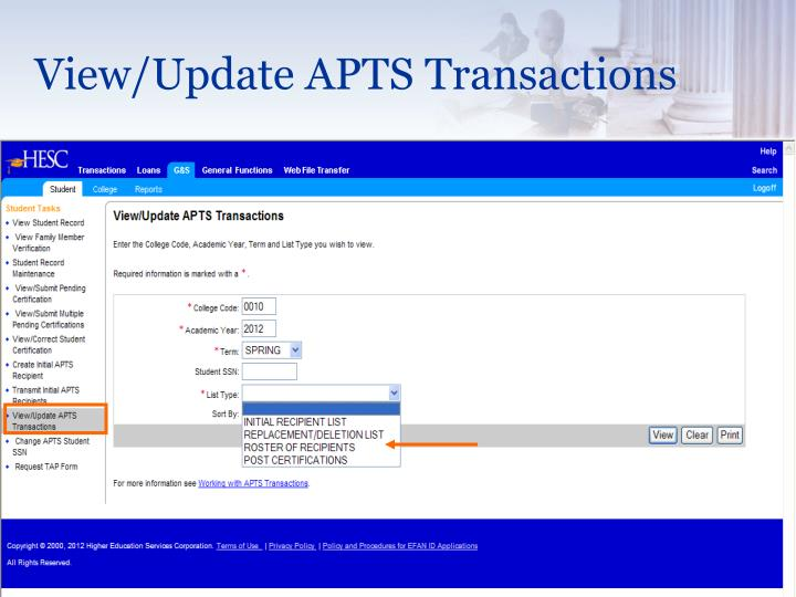 View/Update APTS Transactions