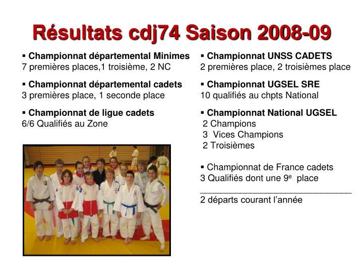 Résultats cdj74 Saison 2008-09