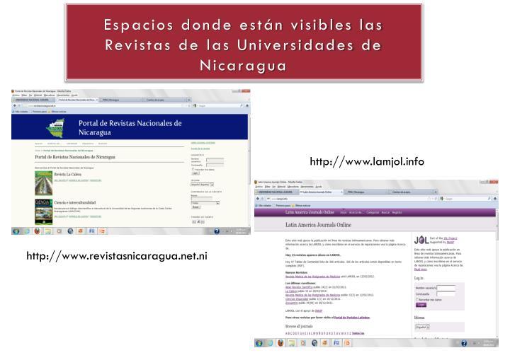 Espacios donde están visibles las Revistas de las Universidades de Nicaragua