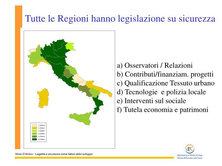 Tutte le Regioni hanno legislazione su sicurezza