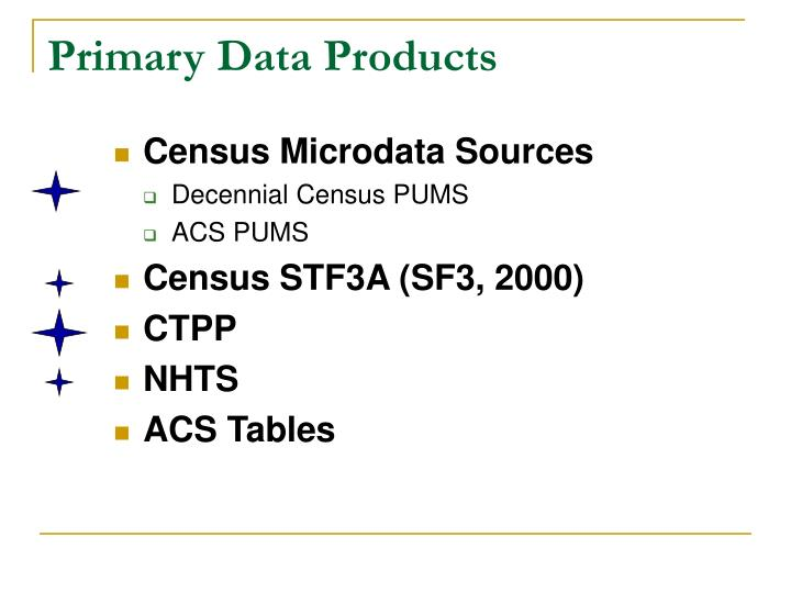 Primary Data Products