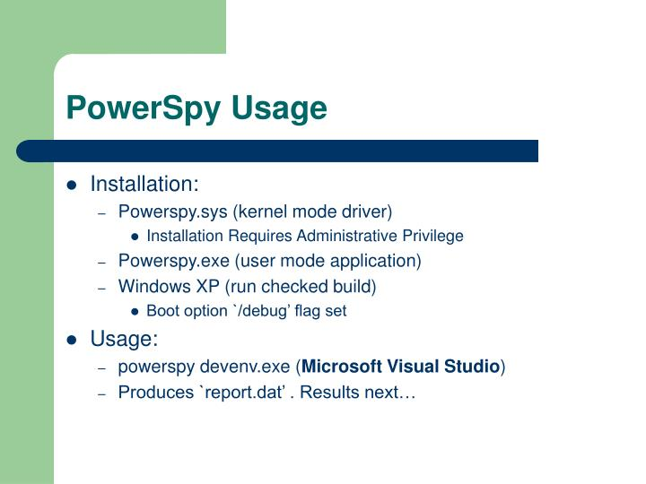PowerSpy Usage