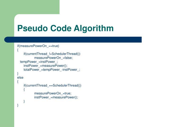 Pseudo Code Algorithm