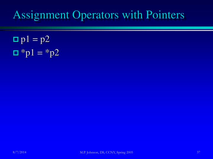 Assignment Operators with Pointers