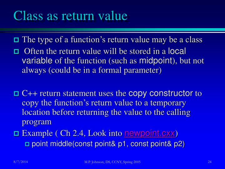 Class as return value