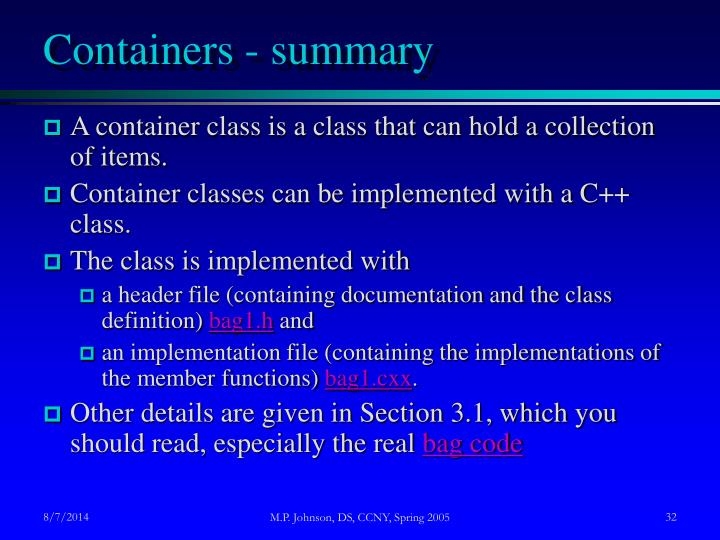 Containers - summary