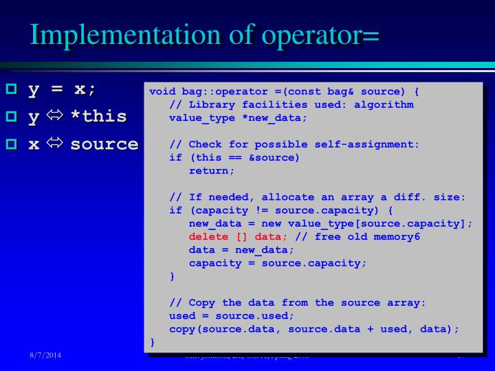 Implementation of operator=