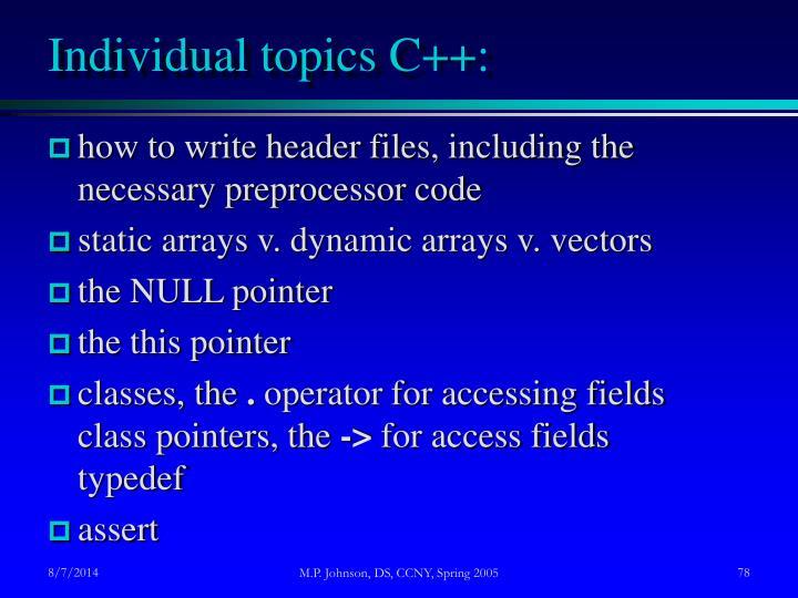 Individual topics C++: