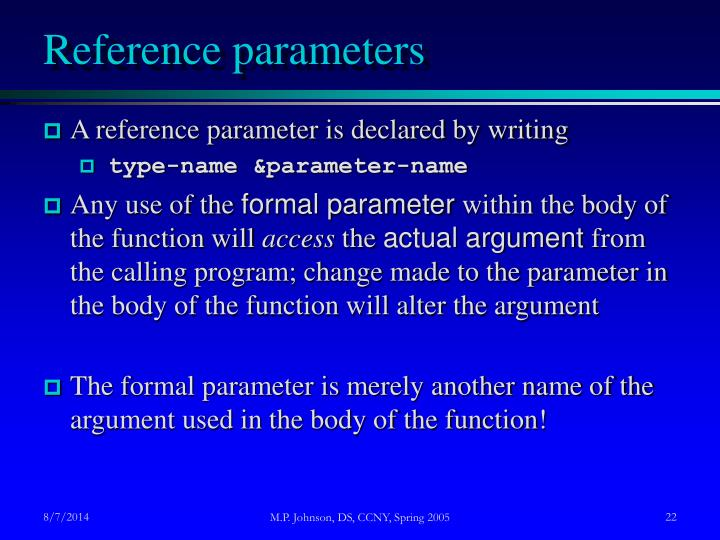 Reference parameters
