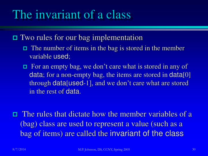 The invariant of a class