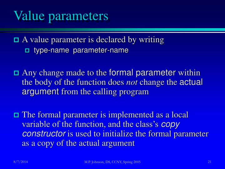 Value parameters