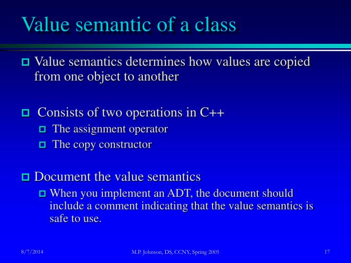Value semantic of a class