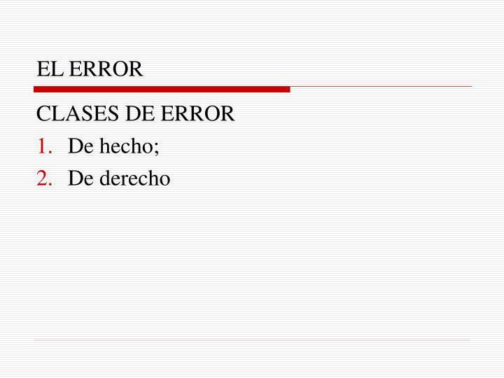 EL ERROR