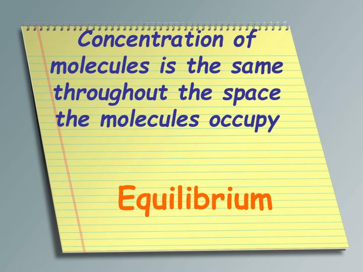 Concentration of molecules is the same throughout the space the molecules occupy