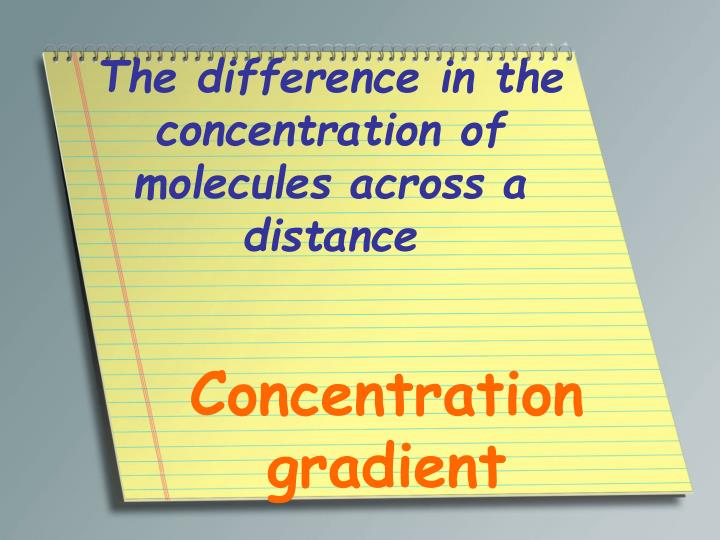 The difference in the concentration of molecules across a distance