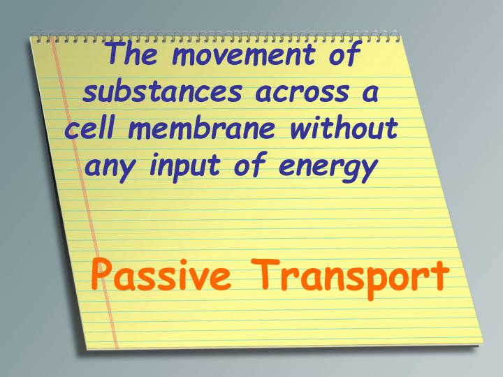 The movement of substances across a cell membrane without any input of energy
