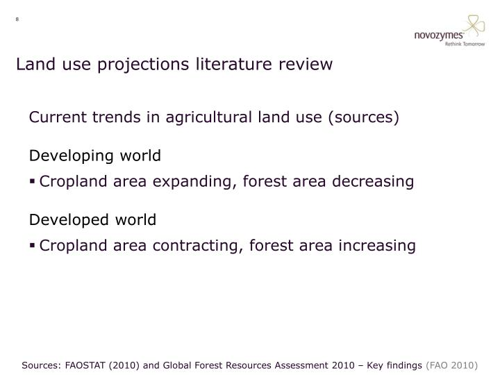 Land use projections literature review