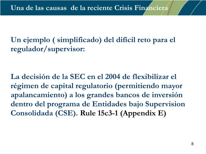 Una de las causas  de la reciente Crisis Financiera