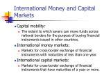 international money and capital markets