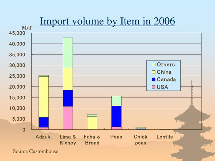 Import volume by Item in 2006