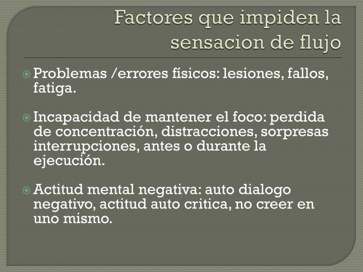 Factores que impiden la