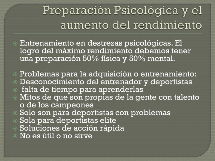 Preparación Psicológica y el aumento del rendimiento