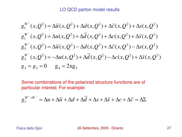 LO QCD parton model results