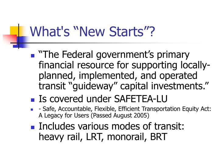 "What's ""New Starts""?"