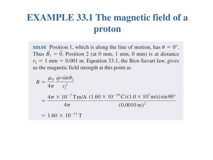 EXAMPLE 33.1 The magnetic field of a proton