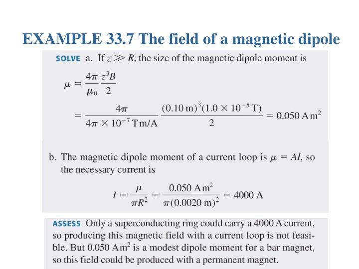 EXAMPLE 33.7 The field of a magnetic dipole