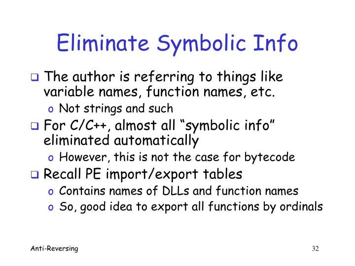 Eliminate Symbolic Info
