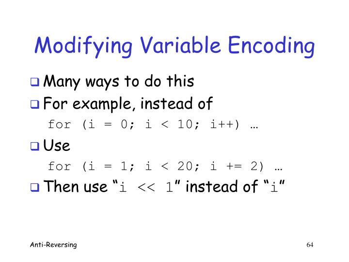 Modifying Variable Encoding