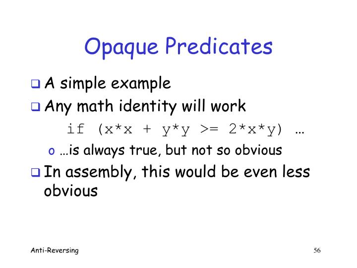 Opaque Predicates