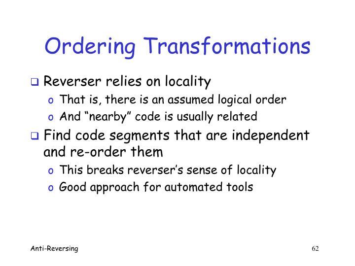 Ordering Transformations